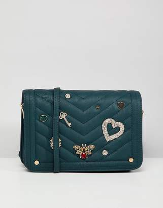 Dune Devania Black/ Teal Embellished Cross Body Bag
