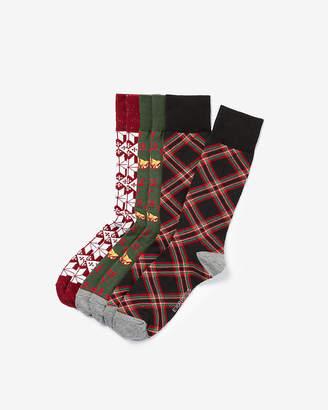 Express 3 Pack Plaid Jingle Bell Socks Gift Set