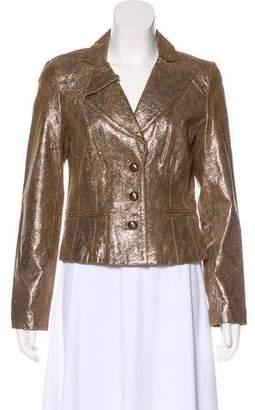 Vakko Metallic Leather Jacket