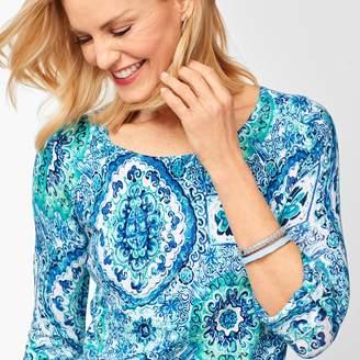 Talbots Textured Cotton Button-Tab Sweater - Medallion