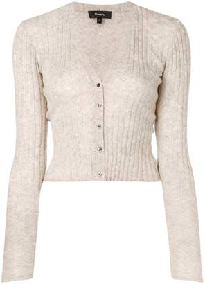Theory cropped ribbed knit cardigan