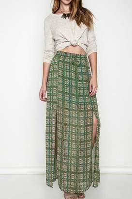 Umgee USA Green Printed Maxi Skirt