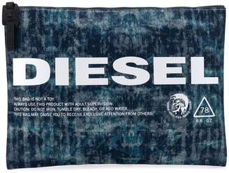 Diesel treated denim pouch