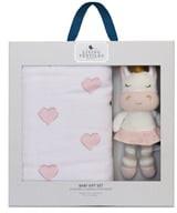 Living Textiles Baby Bento Swaddle Blanket & Kenzie Stuffed Animal Gift Set
