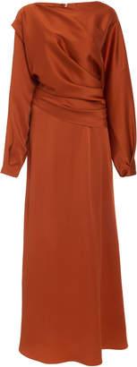 Oscar de la Renta Long Sleeve Crepe Midi Dress