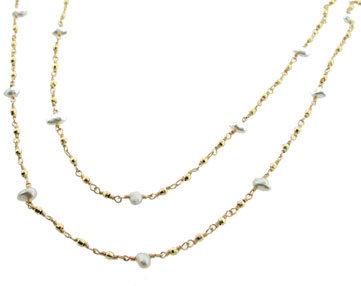 Mizuki Long Pearl and Bead Chain in Yellow Gold