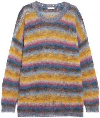 Chloé - Striped Mohair-blend Sweater - Orange