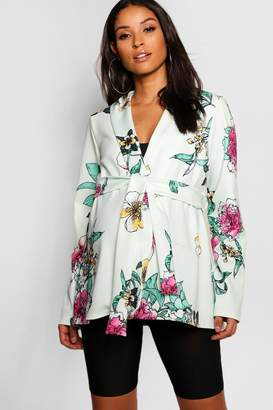boohoo Maternity Mel Floral Print Belted Jacket