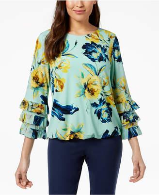Alfani Printed Ruffle-Sleeve Blouse, Created for Macy's