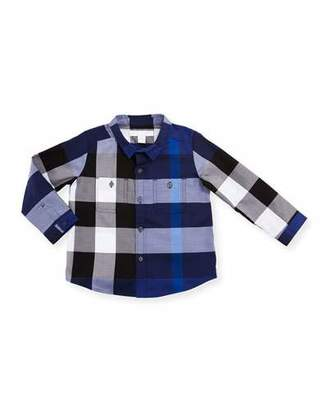 Burberry Camber Poplin Check Shirt, Bright Navy Blue, Size 6M-3 $120 thestylecure.com