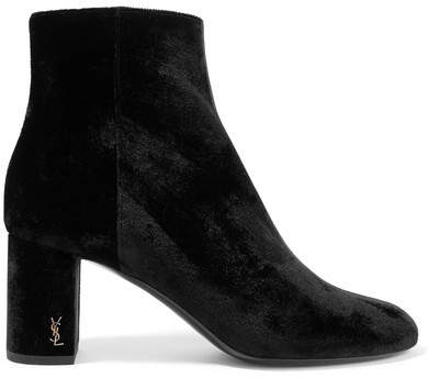 Saint Laurent - Loulou Velvet Ankle Boots - Black