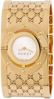 Gucci 24mm Twirl Stainless Steel Flip Bangle Watch, Gold