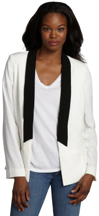 Wyatt white and black open front long sleeve tuxedo jacket