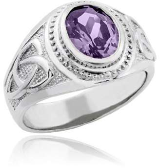 Celtic Rings Men's 925 Silver Trinity Knot Band Amethyst CZ February Birthstone Cross Ring (Size 14.5)