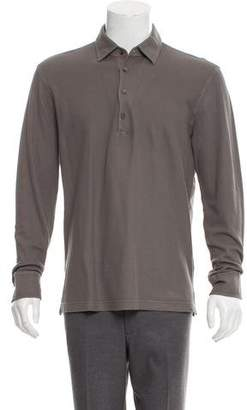 Loro Piana Waffle Knit Long Sleeve Polo