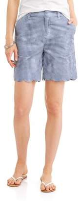 "Caribbean Joe Women's 7"" Scalloped Gingham Shorts"