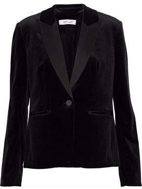 Diane von Furstenberg Satin-Trimmed Cotton-Blend Velvet Blazer
