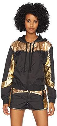 Pam & Gela Women's Colorblocked Metallic Nylon Zip Hoodie