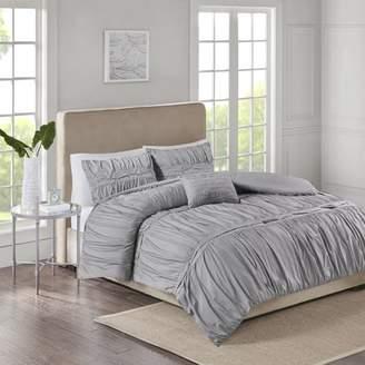 510 Design Mervyn 4 Piece Solid Ruched Bedding Comforter Set