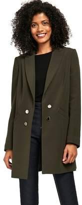 Wallis Khaki Ribbed Double Breasted Coat