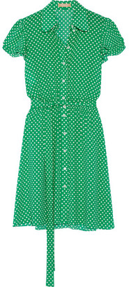Michael Kors Collection - Polka-dot Silk-georgette Mini Dress - Green $1,795 thestylecure.com
