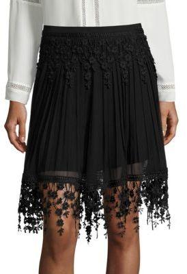 Elie Tahari Brielle Pleated Chiffon & Lace Skirt $298 thestylecure.com