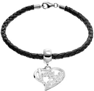 "Insignia Collection Sterling Silver & Leather ""I Love My Firefighter"" Heart Charm Bracelet"