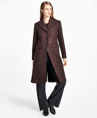Brooks Brothers Wool-Blend Muted Leopard-Print Coat