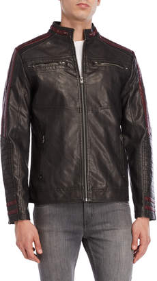 X-Ray X Ray Racing Stripe Leather Moto Jacket
