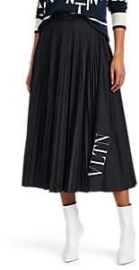 Valentino Women's Logo Pleated Midi-Skirt - Black