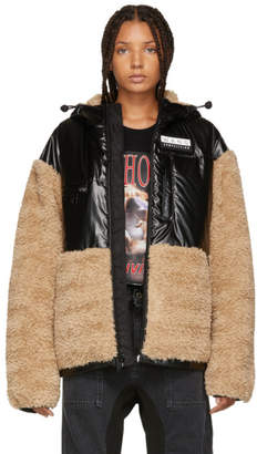 Alexander Wang Khaki and Black Faux-Shearling Jacket