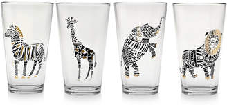 Culver Safari Friends Gold 22k Highball Glasses, Set of 4
