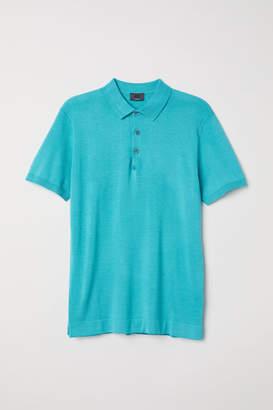 H&M Silk-blend Polo Shirt - Turquoise