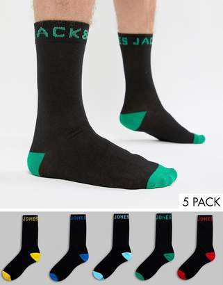Jack and Jones 5 Pack Black Socks with Contrst trims