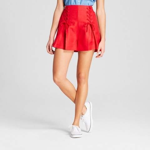 A New Day Women's Lace-Up Shorts - A New Day Red