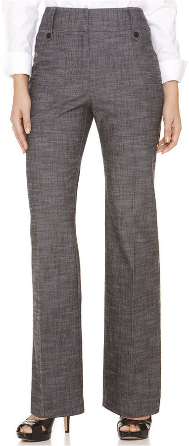 Amy Byer Petite Pants, Textured Button Tab Trousers