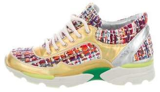 Chanel Tweed Holographic CC Sneakers w/ Tags