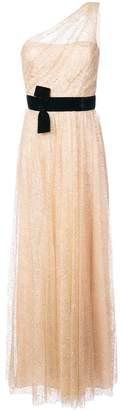 Marchesa one-shoulder belted glitter dress