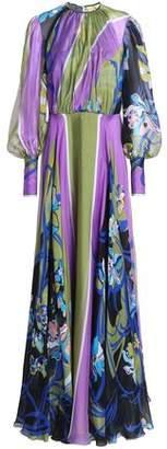 Emilio Pucci Gathered Printed Silk-Chiffon Gown