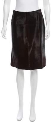 J. Mendel Knee-Length Ponyhair Skirt