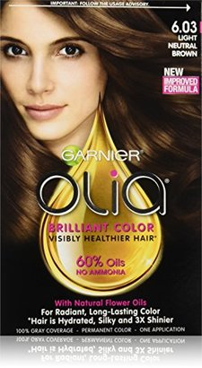 Garnier Hair Color Olia Oil Powered Permanent Color, 6.03 Light Neutral Brown (Packaging May Vary) $9.99 thestylecure.com