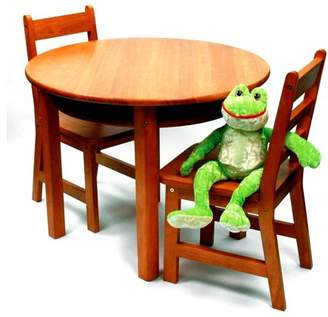 Lipper Child's Round Table with Shelf & 2 Chair Set, Multiple Colors