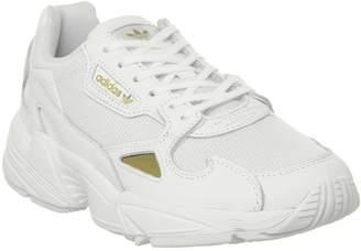 adidas Falcon Trainers White Gold Metallic