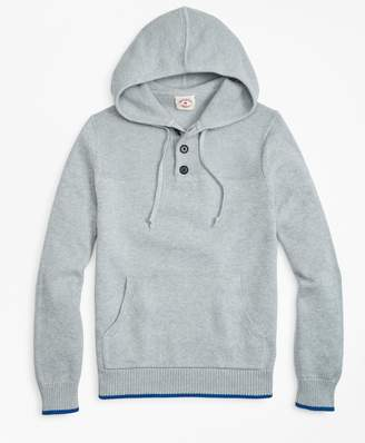 Brooks Brothers Cotton Heavy-Knit Henley Hoodie