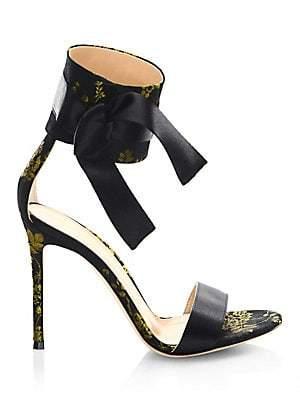 Gianvito Rossi Women's Floral Satin Open Toe Sandals