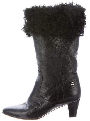 Chanel Fur-Trimmed Ankle Boots