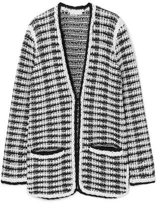 Maje J Striped Cotton-blend Cardigan - White