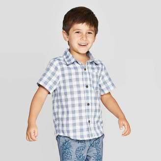 Cat & Jack Toddler Boys' Dobby Plaid Short Sleeve Woven Button-Down Shirt Blue/White