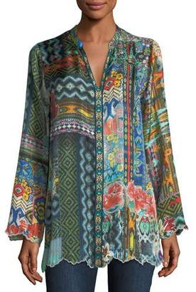 Johnny Was Cane Silk Twill Tunic, Plus Size