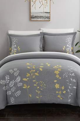 Kathy Floral Embroidered Duvet Cover Set - Yellow